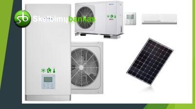 Kondicionavimas, vėdinimas, šilumos siurbliai, saulės moduliai Jūsų namams